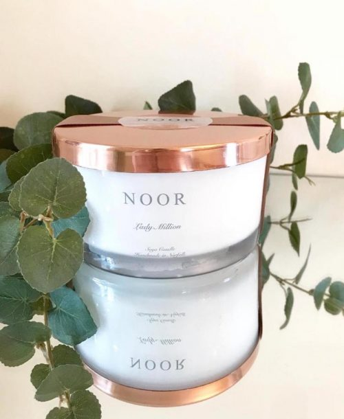 Large 3 wick fragranced candles in Copper from the noor company norfolk