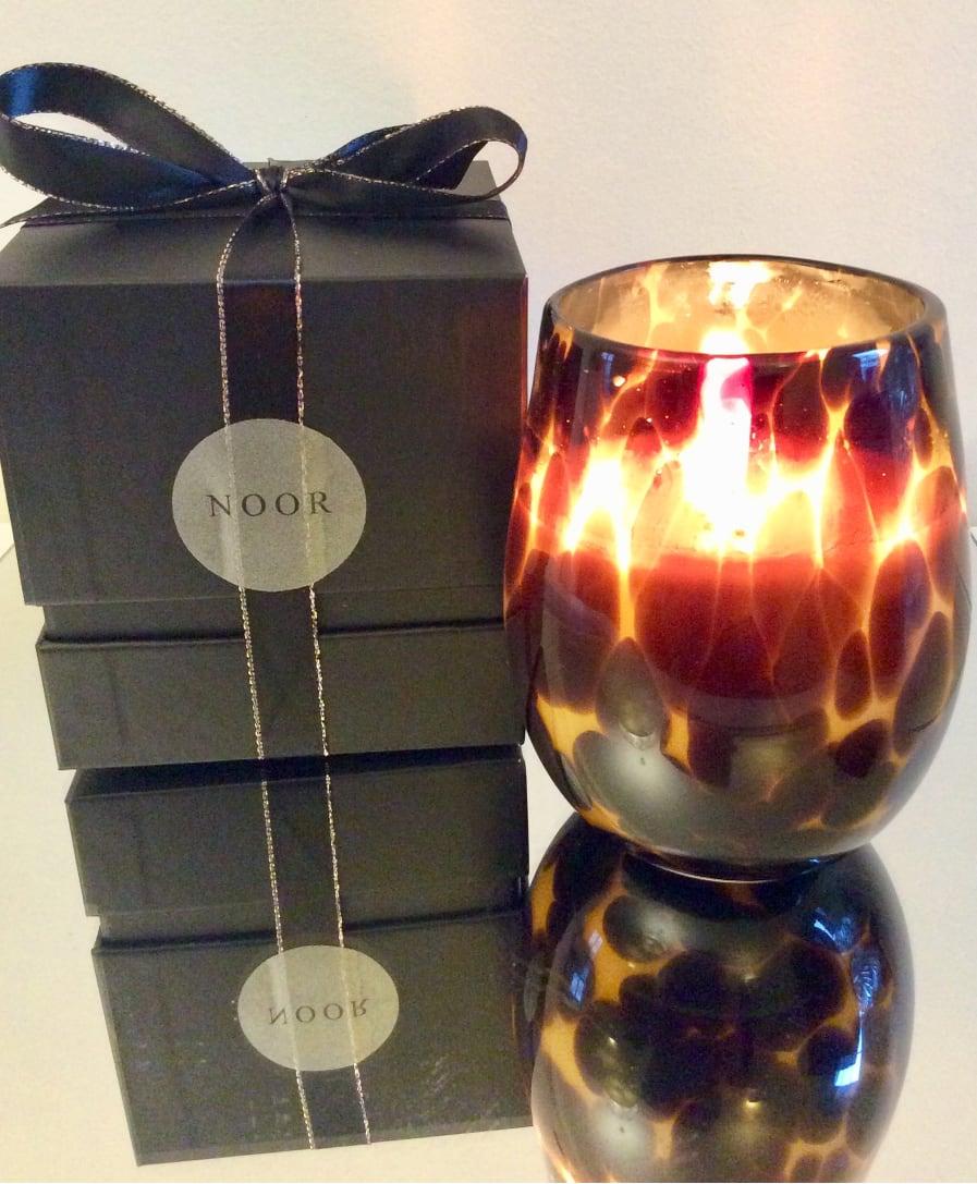 fragranced candle leopard print