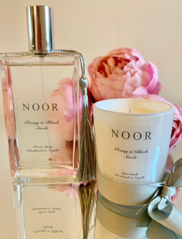 Luxury candles and room fragrance in peony and suede blush