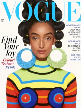 Font page of Vogue 2021 in bright spring colours